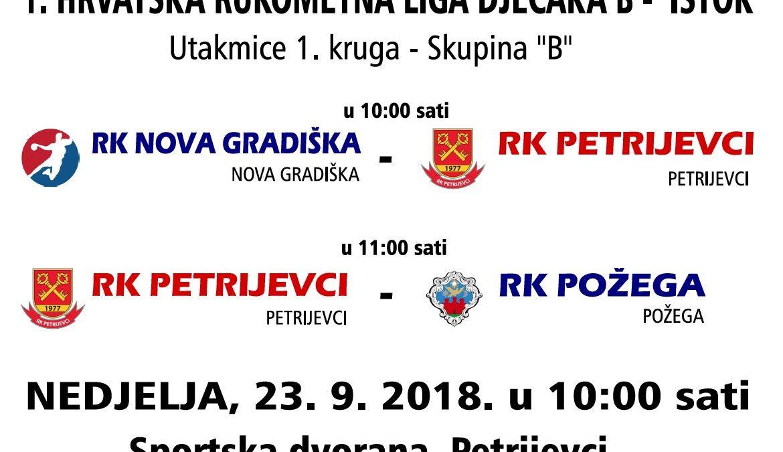 """Utakmice 1. kruga 1. HRLDB Istok – skupina """"B"""" (nedjelja 23.9.2018. u 10 sati)"""