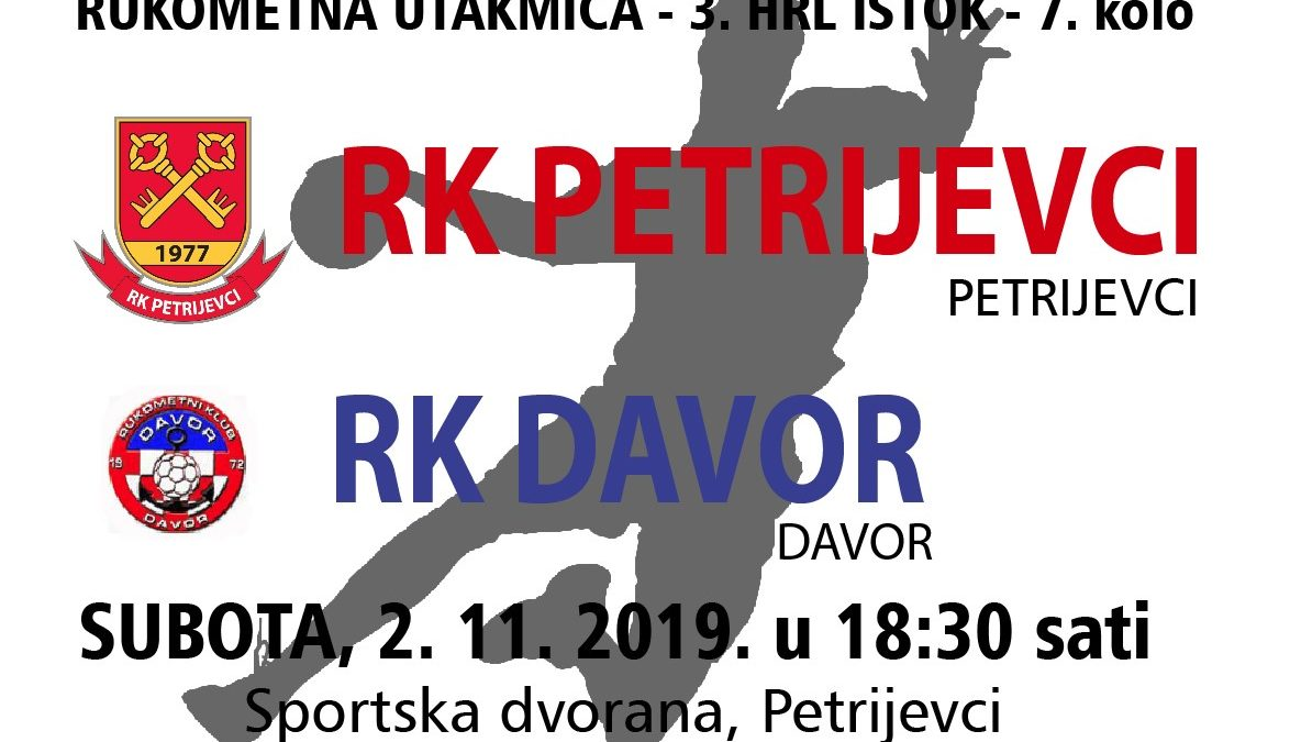 Petrijevci – Davor (Subota, 2. 11. 2019. u 18:30 sati)